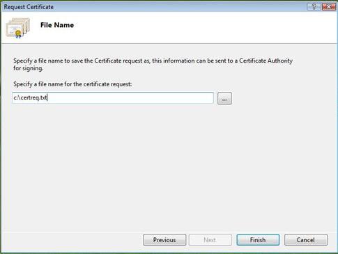 IIS 7 SSL Certificate Request File Name